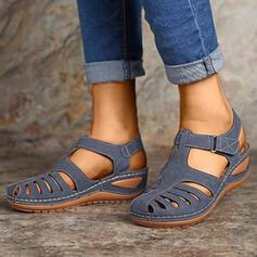 Femmes PU Talon compensé Sandales avec Velcro chaussures