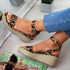 Women's PU Wedge Heel Sandals Wedges Peep Toe Heels With Buckle Animal Print shoes