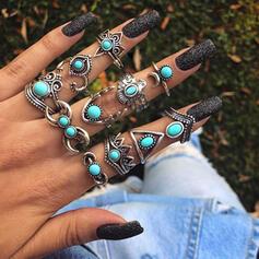 Refroidir Boho Alliage Turquoise Femmes Bagues (Lot de 11)