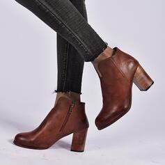 Femmes PU Talon bottier Bottines Bout pointu avec Zip chaussures