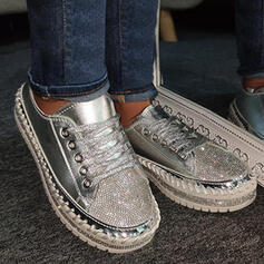 Women's PU Flat Heel Flats Low Top Round Toe Loafers With Sequin Lace-up shoes