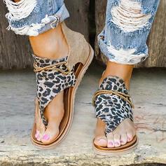 Women's Leatherette Fabric Flat Heel Sandals Flats Peep Toe With Animal Print Zipper shoes