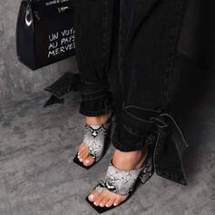 Femmes PU Talon stiletto Sandales Escarpins À bout ouvert Bout carré avec La copie Animale Ouvertes chaussures