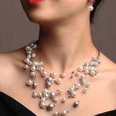 Brillant Élégante En couches Alliage De faux pearl Parures Colliers Boucles d'oreilles 3 PIÈCES