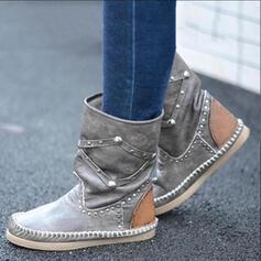 Femmes PU Talon plat Bottes mi-mollets bout rond avec Rivet chaussures