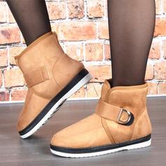 Femmes Suède Talon plat Bottes neige bout rond avec Velcro Couleur unie chaussures