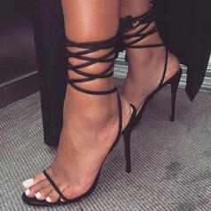 Women's PU Stiletto Heel Sandals Pumps Peep Toe With Lace-up Solid Color shoes