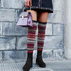 Femmes PU Talon bottier Bottes hautes avec Couleur d'épissure chaussures