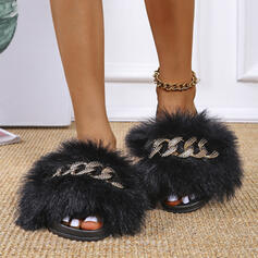 Women's PU Flat Heel Sandals Peep Toe Slippers With Chain Faux-Fur Solid Color shoes