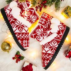 Femmes Tissu Talon plat Bottes neige bout rond Bottes d'hiver avec Couleur d'épissure chaussures
