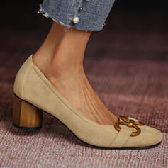 Women's Suede Chunky Heel Pumps Heels With Chain Solid Color shoes