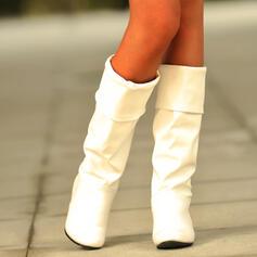 Femmes PU Talon bas Talon bottier Talon cône Bottes Bottes hautes Bottes mi-mollets Bottes neige Haut haut avec Couleur unie chaussures