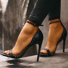 Femmes PU Talon stiletto Escarpins À bout ouvert avec Rivet Boucle chaussures