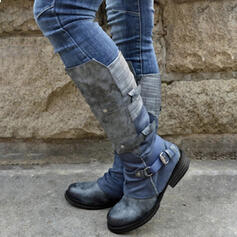 Women's PU Chunky Heel Boots With Buckle Zipper Lace-up shoes