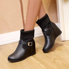 Women's PU Platform Boots Ankle Boots With Solid Color shoes