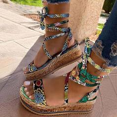 Femmes Similicuir Talon compensé Sandales Compensée avec Dentelle chaussures