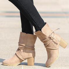 Femmes Suède Talon bottier Bottes mi-mollets bout rond avec Dentelle chaussures