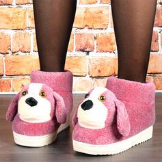 Femmes Velours Talon plat Bottes neige bout rond avec Couleur d'épissure chaussures
