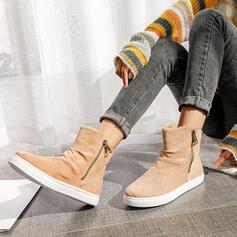 Femmes PU Talon plat Bottes mi-mollets bout rond avec Zip Couleur unie chaussures