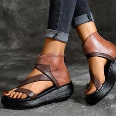Femmes PU Talon plat Sandales Compensée À bout ouvert avec Zip chaussures