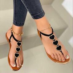 Women's PU Flat Heel Sandals Peep Toe Flip-Flops With Applique shoes