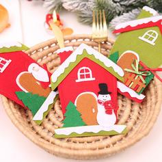 Noël joyeux Noël Bonhomme de neige Renne Père Noël Maison Tissu non tissé Couverture de vaisselle