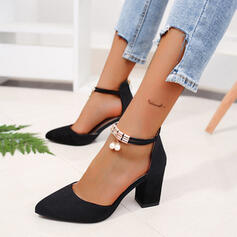 Femmes PU Talon bottier Escarpins avec Perle d'imitation Zip chaussures