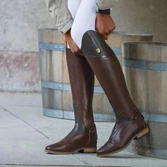 Femmes PU Talon bottier Bottes hautes bout rond avec Dentelle Couleur unie chaussures