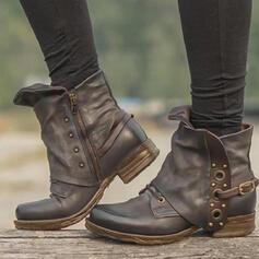 Femmes PU Talon bottier Bottines bout rond avec Rivet Boucle Couleur unie chaussures