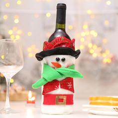 Noël joyeux Noël Bonhomme de neige Père Noël Tissu non tissé Couverture de bouteille de vin