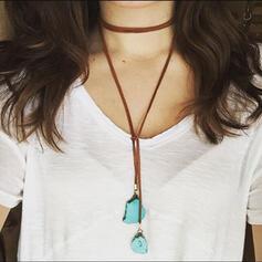 Vintage Elegant Romantic Alloy Turquoise Leather With Minimalist Women's Ladies' Unisex Necklaces