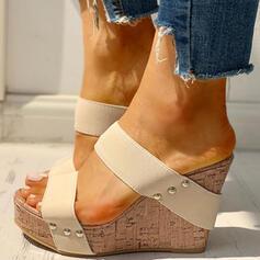 Femmes PU Talon compensé Sandales À bout ouvert Chaussons avec Rivet chaussures