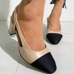 Women's Microfiber Chunky Heel Pumps Heels Round Toe With Splice Color shoes