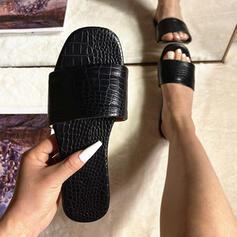 Femmes PU Talon plat Sandales Chaussures plates avec Couleur unie chaussures
