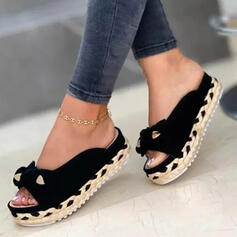 Women's Suede Flat Heel Sandals Flats Peep Toe Slippers Round Toe With Bowknot Faux-Fur Braided Strap Solid Color shoes