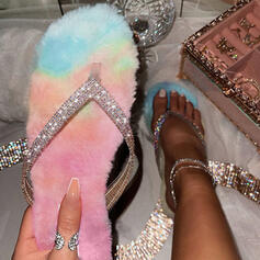 Women's Sparkling Glitter Flat Heel Sandals Peep Toe Slippers With Sparkling Glitter Splice Color shoes