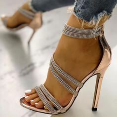 Femmes PU Talon stiletto Sandales À bout ouvert avec Strass Boucle chaussures