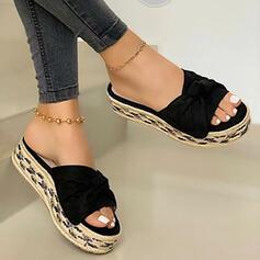 Women's PU Flat Heel Sandals Flats Platform Peep Toe Slippers With Bowknot Splice Color shoes