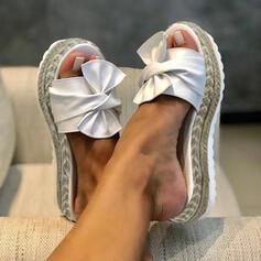Femmes Similicuir Talon compensé Sandales Escarpins Chaussons avec Bowknot chaussures
