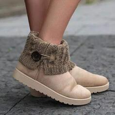 Femmes Suède Talon plat Bottines bout rond Glisser sur Bottes neige avec Boucle Couleur d'épissure chaussures