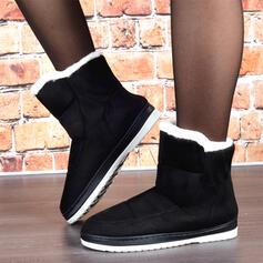 Femmes Suède Talon plat Bottes neige bout rond avec Fausse Fourrure Couleur unie chaussures