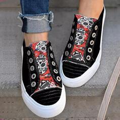 Women's Canvas Flat Heel Flats Platform Round Toe Espadrille Slip On With Splice Color shoes