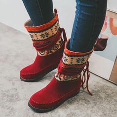 Femmes Suède PU Talon plat Bottes mi-mollets Bottes neige bout rond avec Tassel Couleur d'épissure chaussures