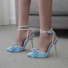 Femmes PU Talon stiletto Sandales Escarpins Bout carré avec Strass Bowknot chaussures