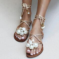 Women's PU Flat Heel Sandals Peep Toe With Imitation Pearl Crisscross shoes