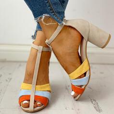 Femmes PU Talon bottier Escarpins À bout ouvert avec Boucle chaussures