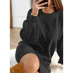 Couleur Unie Manches Longues/Manches Lanternes Droite Au-dessus Du Genou Petites Robes Noires/Décontractée Pull Robes