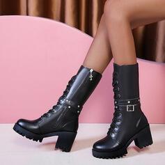 Femmes PU Talon bottier Bottes mi-mollets Martin bottes bout rond avec Zip Dentelle chaussures