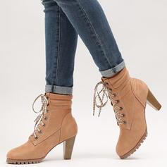 Femmes PU Talon bottier Bottes mi-mollets bout rond avec Dentelle chaussures