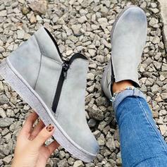 Femmes Suède Talon plat Chaussures plates avec Rivet Zip chaussures